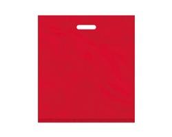 Igelitová PE taška červená - 450x500mm, pevný průhmat a složené dno