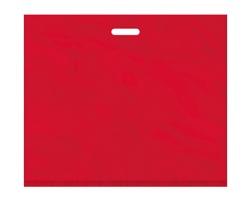 Igelitová PE taška červená - 650x550mm, pevný průhmat a složené dno