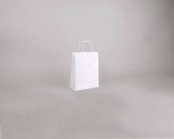 Papírová taška BIANCO TWIST - 18 x 24 x 8 cm - bílá