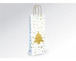 Vánoční papírová taška na víno CHRISTMAS - 15 x 39,5 x 8 cm