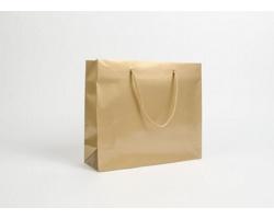 Papírová taška LUX QUADRA - 32 x 27,5 x 10 cm - zlatá