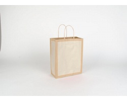 Papírová taška RETRO - 22 x 27,5 x 10 cm - přírodní hnědá / bílá