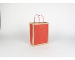 Papírová taška RETRO - 22 x 27,5 x 10 cm - přírodní hnědá / červená