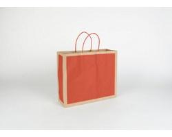 Papírová taška RETRO - 32 x 27,5 x 10 cm - přírodní hnědá / červená