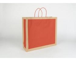 Papírová taška RETRO - 42 x 37 x 13 cm - přírodní hnědá / červená