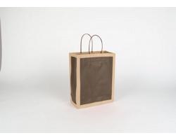 Papírová taška RETRO - 22 x 27,5 x 10 cm - přírodní hnědá / tmavě hnědá