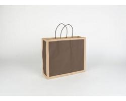Papírová taška RETRO - 32 x 27,5 x 10 cm - přírodní hnědá / tmavě hnědá
