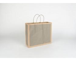Papírová taška RETRO - 32 x 27,5 x 10 cm - přírodní hnědá / šedá