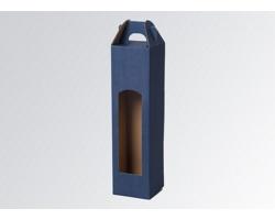 Papírová krabice na 1 lahev vína WINEBOX BLUE - 8 x 31 x 8 cm