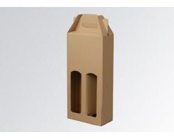 Papírová krabice na 2 lahve vína WINEBOX NATURA - 16,5 x 34,5 x 8 cm