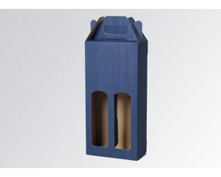 Papírová krabice na 2 lahve vína WINEBOX BLUE - 16,5 x 34,5 x 8 cm