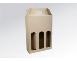 Papírová krabice na 3 lahve vína WINEBOX NATURA - 24 x 34,5 x 8 cm