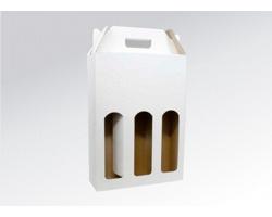 Papírová krabice na 3 lahve vína WINEBOX WHITE - 24 x 34,5 x 8 cm