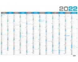 Nástěnný roční kalendář 2022, B1 - modrá