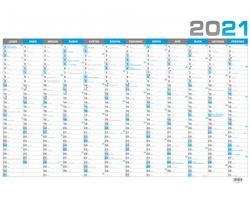 Nástěnný roční kalendář 2021, B1 - modrá