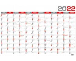 Nástěnný roční kalendář 2022, B1 - červená