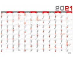 Nástěnný roční kalendář 2021, B1 - červená