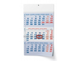 Tříměsíční nástěnný kalendář s mezinárodními svátky 2022 - modrá