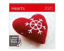 Nástěnný kalendář Hearts 2020 - se samolepkami