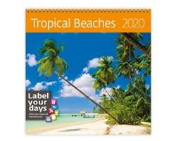 Nástěnný kalendář Tropical Beaches 2020 - se samolepkami