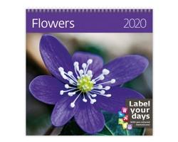 Nástěnný kalendář Flowers 2020 - se samolepkami