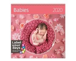 Nástěnný kalendář Babies 2020 - se samolepkami