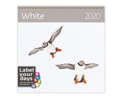 Nástěnný kalendář White 2020 - se samolepkami