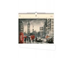 Luxusní dřevěný nástěnný kalendář London 2020