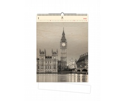 Luxusní dřevěný nástěnný kalendář Big Ben 2021