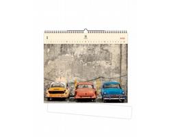 Luxusní dřevěný nástěnný kalendář Cars 2021