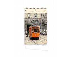 Luxusní dřevěný nástěnný kalendář Tram 2021