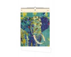 Luxusní dřevěný nástěnný kalendář Elephant 2020