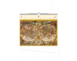 Luxusní dřevěný nástěnný kalendář Antique Maps 2020