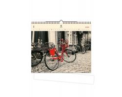 Luxusní dřevěný nástěnný kalendář Bicycle 2020