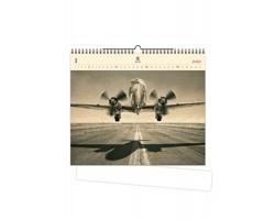 Luxusní dřevěný nástěnný kalendář Airplane 2020