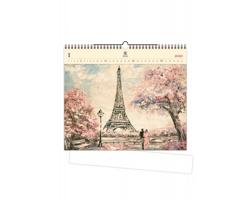 Luxusní dřevěný nástěnný kalendář Eiffel Tower 2020