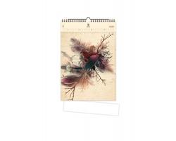 Luxusní dřevěný nástěnný kalendář Feathers 2020