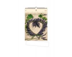 Luxusní dřevěný nástěnný kalendář Heart 2020