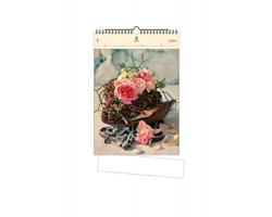 Luxusní dřevěný nástěnný kalendář Roses 2020