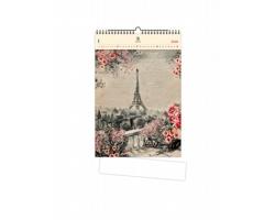 Luxusní dřevěný nástěnný kalendář Eiffel Tower 2021