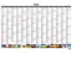 Nástěnný roční plánovací kalendář a mapa 2020 - A1, obrázková