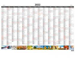 Roční nástěnný plánovací kalendář A1 2022 - s obrázky
