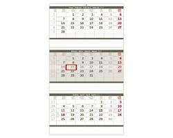 Tříměsíční nástěnný skládaný kalendář 2022 - šedý
