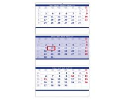 Tříměsíční nástěnný kalendář skládaný 2020 - modrý