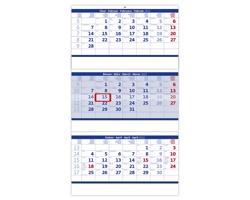 Tříměsíční nástěnný skládaný kalendář 2022 - modrý