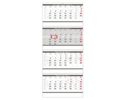 Čtyřměsíční nástěnný kalendář skládaný 2020 - šedý