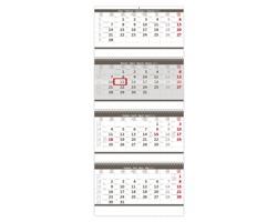 Čtyřměsíční nástěnný skládaný kalendář 2022 - šedý