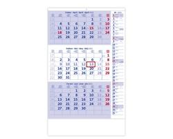 Tříměsíční nástěnný kalendář s poznámkami 2022 - modrý