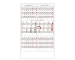 Pětiměsíční nástěnný kalendář 2022 - šedý