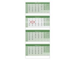 Čtyřměsíční / štvormesačný nástěnný kalendář 2020 - zelený